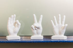 Three hand statues